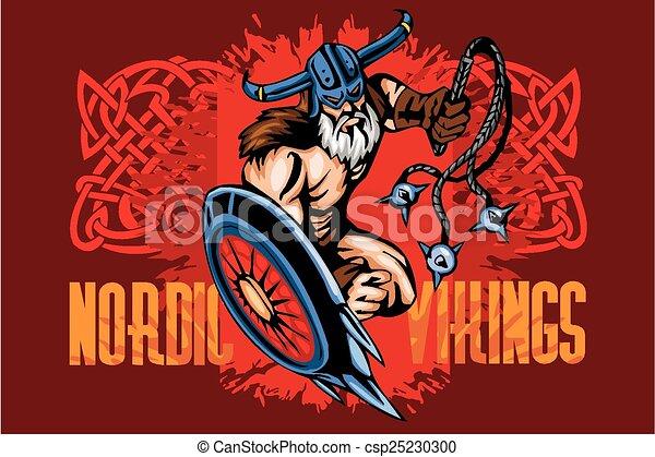 Viking norseman mascot cartoon with bludgeon and shield - csp25230300