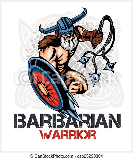 Viking norseman mascot cartoon with bludgeon and shield - csp25230304