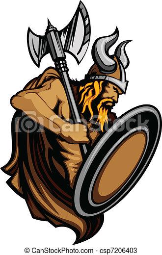 Viking Norseman Mascot Standing wit - csp7206403
