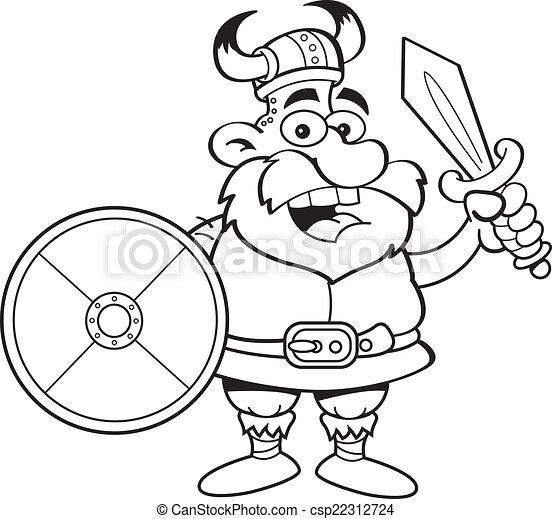 Vikingo de dibujos animados con un escudo y - csp22312724