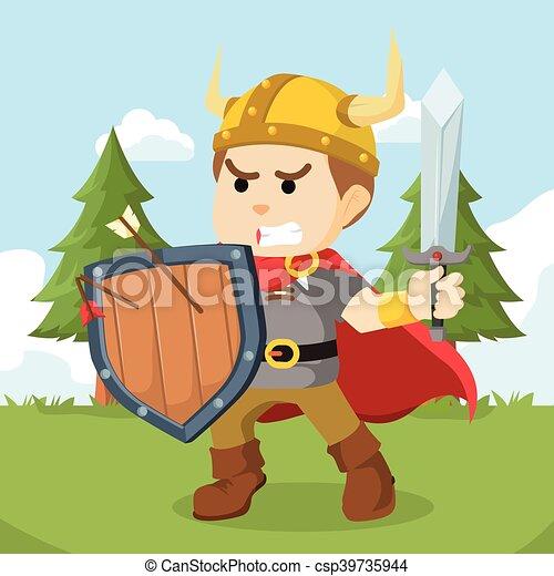 Viking sosteniendo escudo y espada - csp39735944