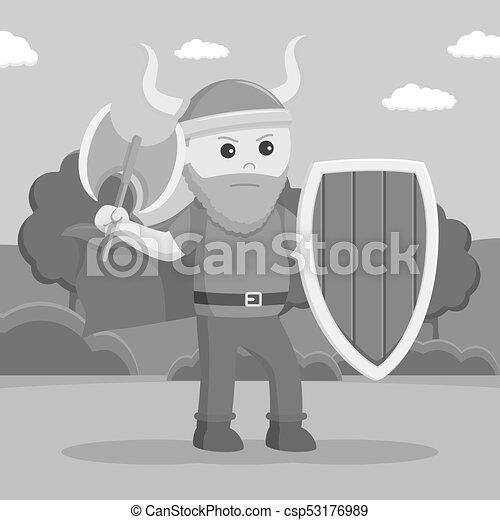 Soldado vikingo gordo empuña escudo y hacha - csp53176989