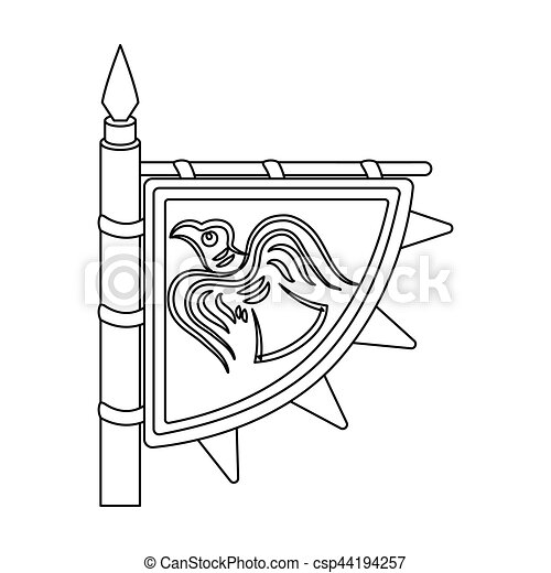 Viking S Flag Icon In Outline Style Isolated On White Background. Vikings  Symbol Stock Vector 9a193b807