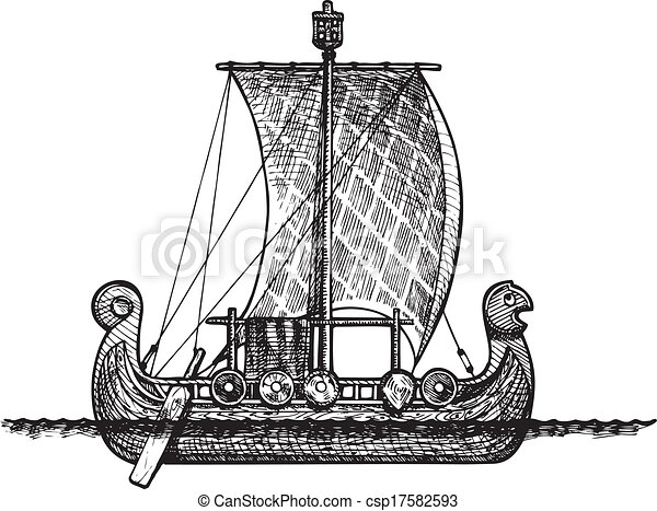 Vector vintage illustration of viking ship.