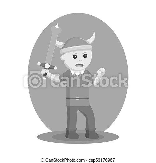 Soldado vikingo empuña la espada - csp53176987