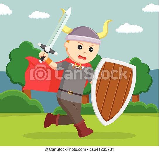 Soldado vikingo ejerce escudo - csp41235731