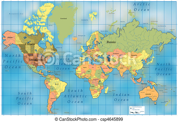 világ, map. - csp4645899