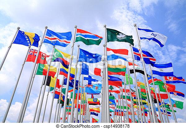 világ, nemzeti, zászlók - csp14938178