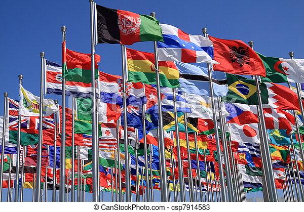 világ, nemzeti, zászlók - csp7914583