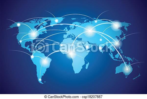 világ, teljes hálózat, térkép - csp18207887