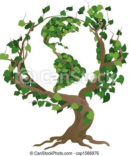 világ, vektor, zöld fa, ábra - csp1566976