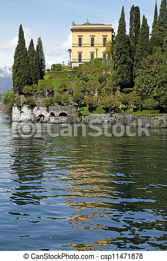 Villa Cipressi in fantastic scenery  of lake Como seen from gardens of Villa Monastero, Varenna, Lombardy, Italy, Europe - csp11471878