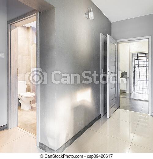 villa, gris, couloir, idée