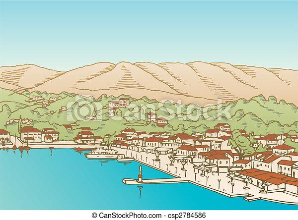 Village by the sea vector - csp2784586