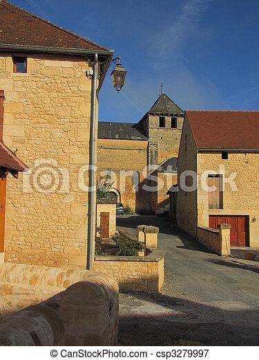 Village, church - csp3279997