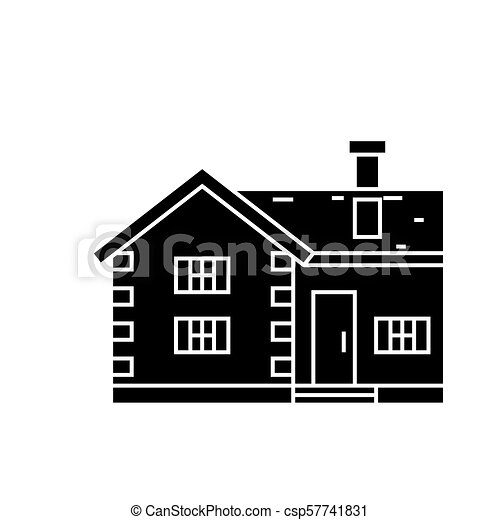 Village cottage black icon concept. Village cottage  vector sign, symbol, illustration. - csp57741831