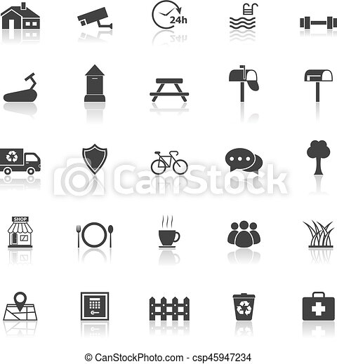 Village icons with reflect on white background - csp45947234