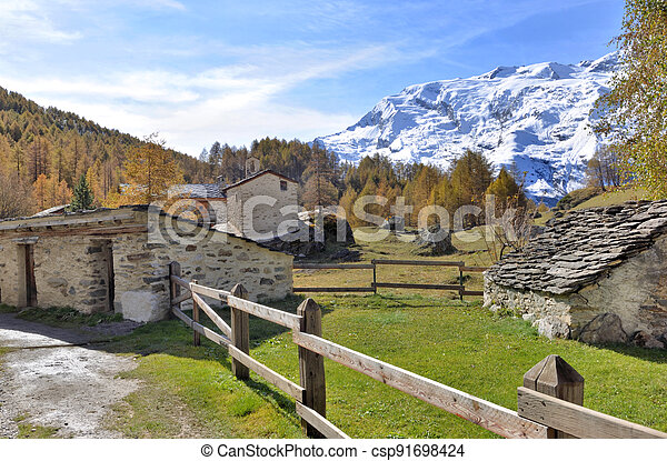 village in autumnal  landscape with forest and snowy mountain background - csp91698424