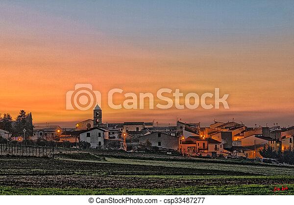 village in sunset - csp33487277