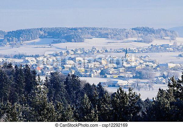 Village in Winter Landscape - csp12292169