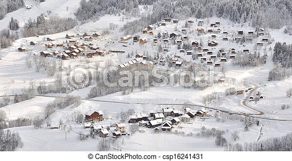 Village in winter landscape - csp16241431