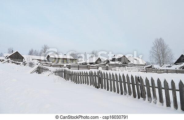 village in winter - csp16030791