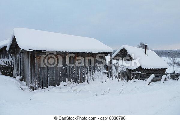 village in winter - csp16030796