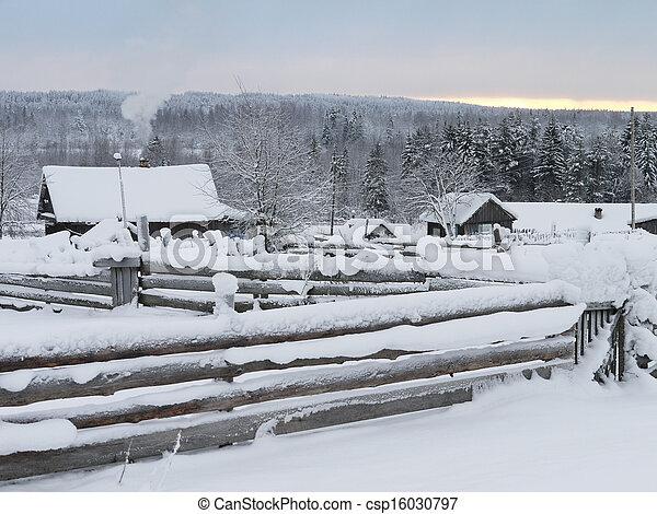 village in winter - csp16030797