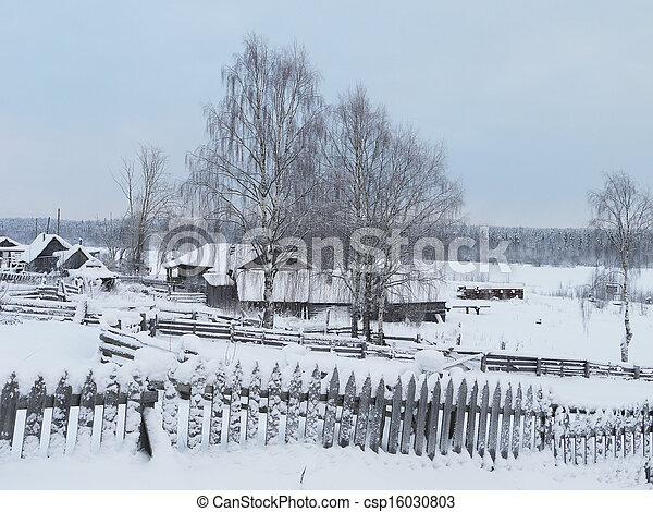 village in winter - csp16030803