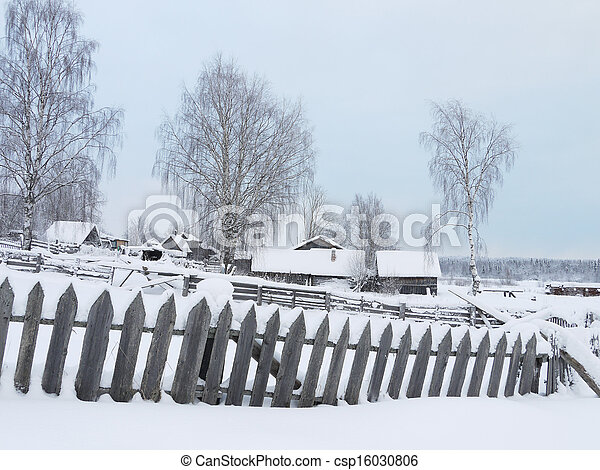 village in winter - csp16030806