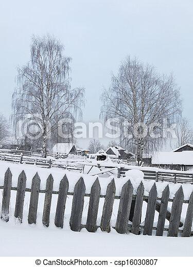 village in winter - csp16030807