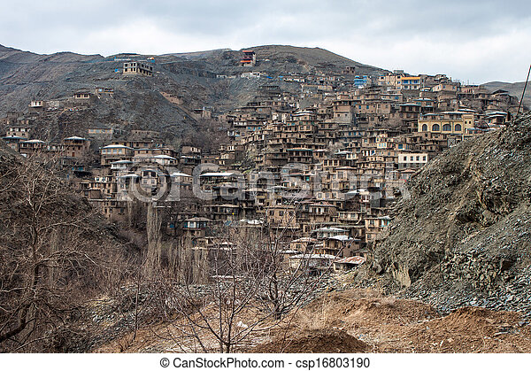 Village Kang in mountains near Mashhad, Iran - csp16803190