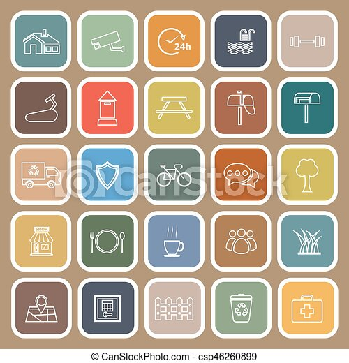 Village line flat icons on brown background - csp46260899