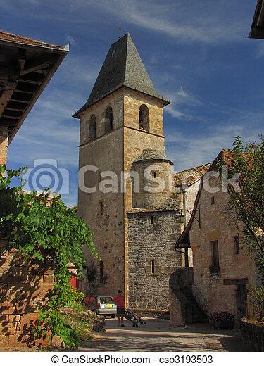 Village Loubressac, church, - csp3193503