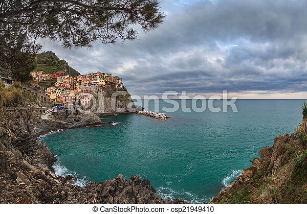 Village of Manarola, on the Cinque Terre coast of Italy - csp21949410