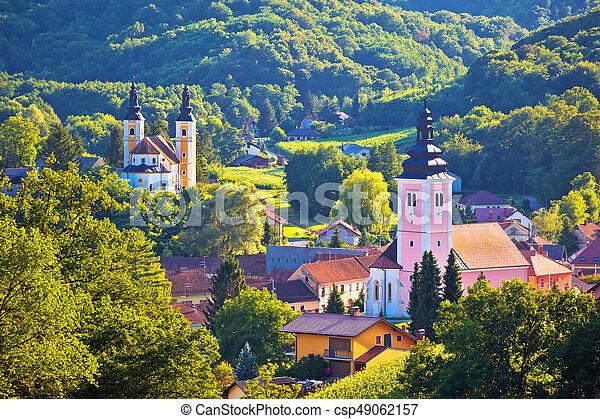 Village Of Strigova Towers And Green Landscape Medjimurje Region Of Croatia Canstock