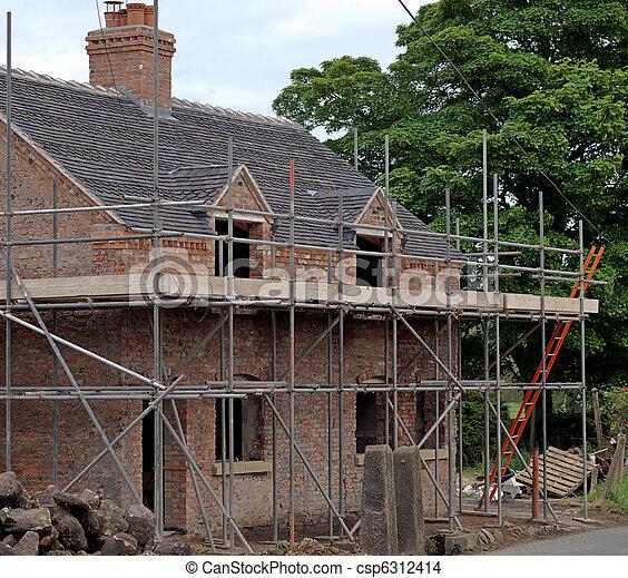 villaház, ország, öreg, helyreállítás, alatt - csp6312414
