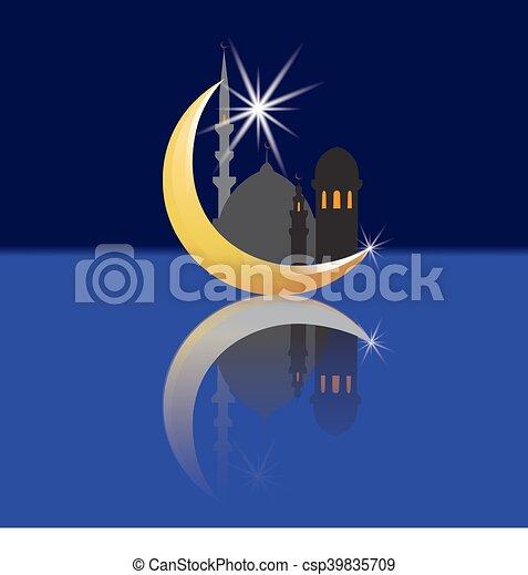 Ville, étoile, mosques., réflexion., illustration, oriental ...