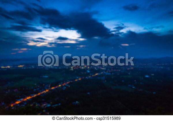 ville, aérien, résumé, barbouillage, nuit, petit, vue - csp31515989