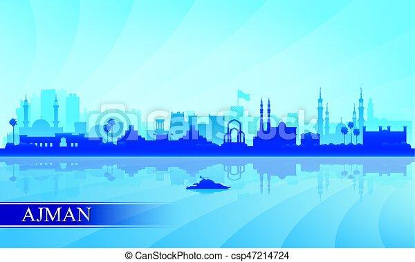 ville, ajman, silhouette, horizon, fond - csp47214724