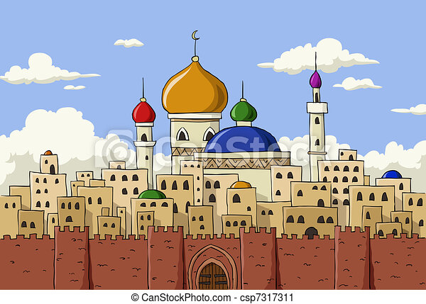 Ville, arabe. Ville, illustration, arabe, vecteur, fond, dessin animé.