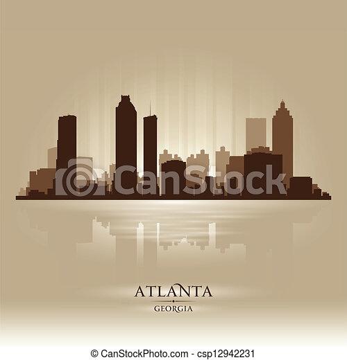 ville, atlanta, géorgie, silhouette, horizon - csp12942231