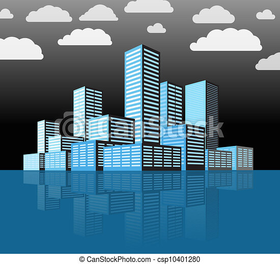 ville, bâtiments, moderne, district., perspective - csp10401280