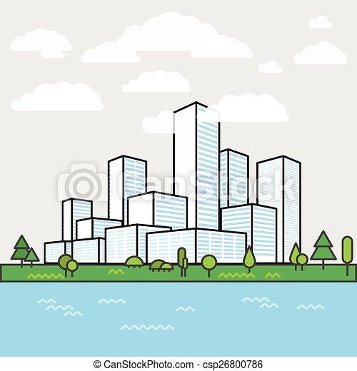 Ville b timents moderne district perspective for Dessin minimaliste