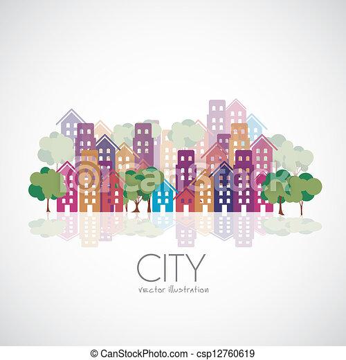 ville, bâtiments, silhouettes - csp12760619