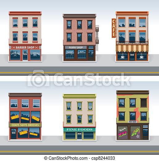 ville, bâtiments, vecteur, ensemble, icône - csp8244033