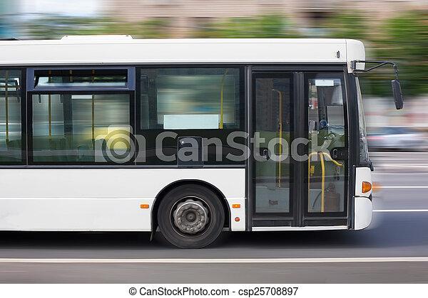 ville, blanc, autobus - csp25708897