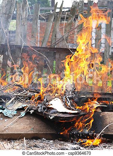ville, brûler, illégal, brulure, poison, literie, flamme, fumée, toxique - csp9364670