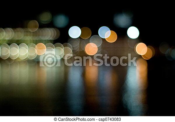 ville, brouillé, lumières - csp0743083