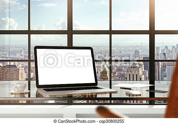 Images de stock de ville bureau ordinateur portable bureau